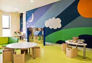 Childcare room with round table